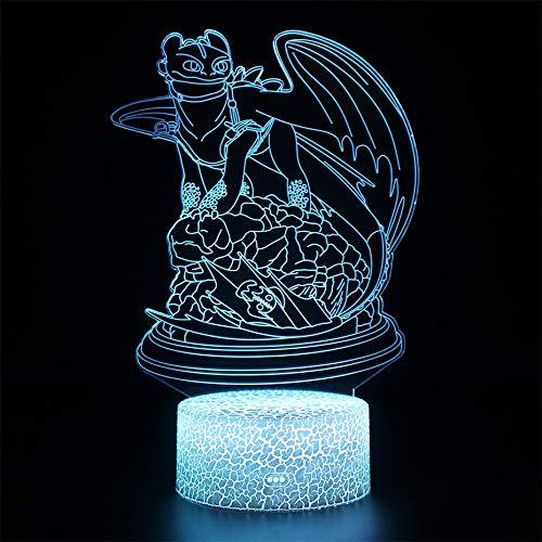 Luz nocturna Dragón Anime LED efecto ilusión óptica 3D, 7 colores lámpara de escritorio con control táctil la decoración del Dormitorio para niños Navidad Halloween Regalo de cumpleaños