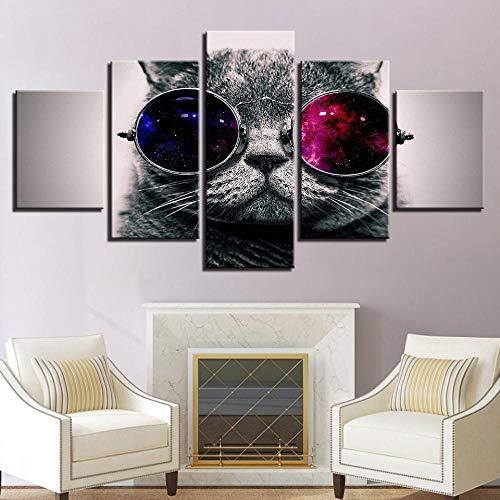 N/X Wall Art HD Prints Picture 5 Piezas Lovely Animal Cat con Gafas de Sol Pinturas en Lienzo Modern Home Decor Animal Poster, Enmarcado 40X60 40X80 40X100cm