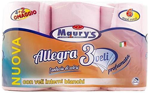 MAURY'S Carta IGIENICA 6 Maxi Rotoli 3 VELI Rosa Colorata PROFUMATA