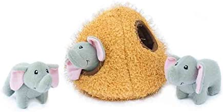 ZippyPaws - Zoo Friends Burrow, Interactive Squeaky Hide and Seek Plush Dog Toy - Elephant Cave