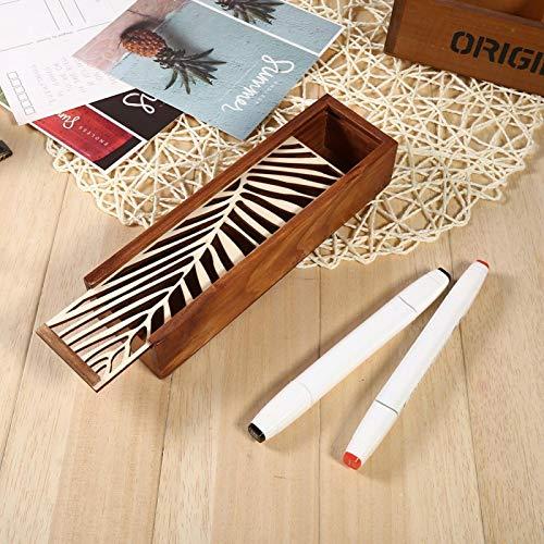 Omabeta Pencil Case Wooden Pencil Case for office sharpener(Horizontal leaf pattern)