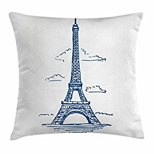 Ambesonne Eiffel Tower Throw Pillow Cushion Cover, Illustration of Eiffel Tower in Paris Modern French City Skyline…