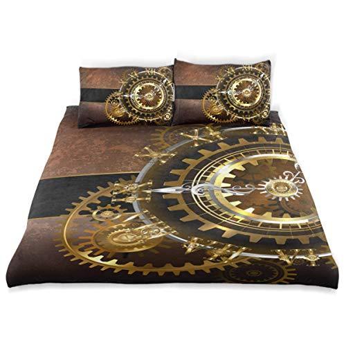 Juego de Funda nórdica Relojes fantásticos Antiguos Engranajes de latón Dorado Juego de Cama Decorativo de 3 Piezas con 2 Fundas de Almohada