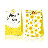 Bumble Bee Goodie Bags-12 Pcs Honey Bee Party Candy Favor Bags with Stickers, Honey Bee Goody Gift Treat Bags Bumble Bee Themed Birthday Party Supplies