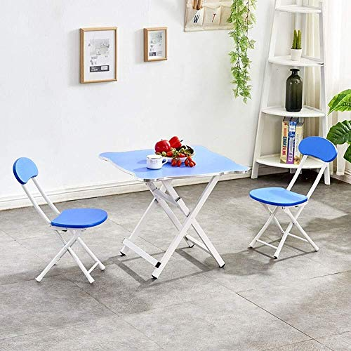 Children's studie bureau Thuis vouwen kleine tafel en 2 stoelen, kinderen vierkante eettafel, draagbare activiteit tafel, outdoor tuintafel Children's studie tafel en stoel set (Color : Pink)