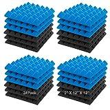 "JBER Acoustic Sound Foam Panels, 24 Pack 2"" X 12"" X 12"" Blue and Black..."