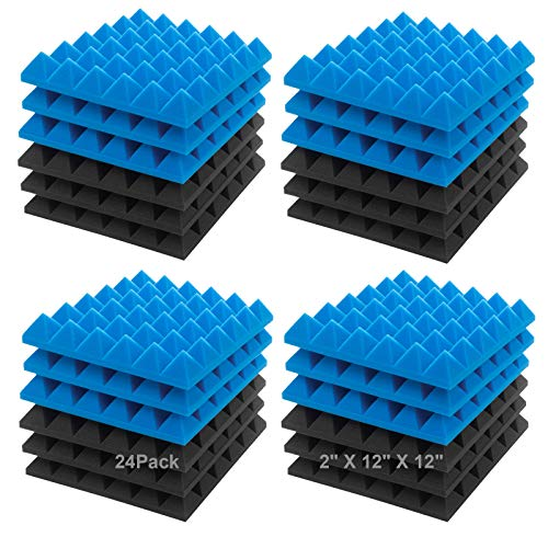"JBER Acoustic Sound Foam Panels, 24 Pack 2"" X 12"" X 12"" Blue and Black Soundproofing Treatment Studio Wall Padding Sound Absorbing Fireproof Pyramid Acoustic Treatment…"