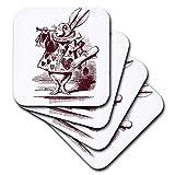 3dRose CST 179090_ 1White Rabbit da Alice nel Paese delle Meraviglie Morbida sottobicchieri (Set di 4)