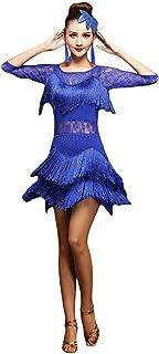 0b038333 Jonact Vestido Latino para Mujers Señoras Vestido de Baile de salón con  Flecos Lentejuelas Bordado para