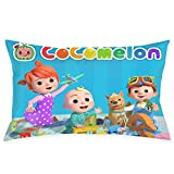 Kids Bedding Super Soft Microfiber Zippered Printed Pillowcase,Toddler Baby JJ Cocomelon Theme Room Decorative Throw Pillow Cover Cushion,Standard Size 20