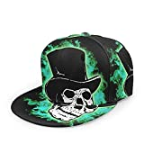 Egoa Trucker Hat Negro Verde Miedo Mágico Cráneo Especial Hiphop Duradero Diseño De Gorra De...