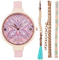 Chumbak Pixie Feathers Watch & Bracelet Set - Baby Pink - Jewelry Watch, Wrist Watch for Women, Dress Watch, Fashion...