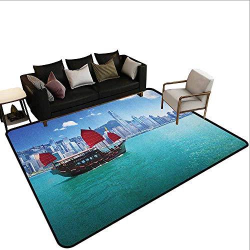MsShe Slaapkamer woonkamer bescherming mat Oceaan, Hong Kong Harbour Kleine Traditionele Junk Boot Met Vlaggen Gebouwen Skyline en Zee, Aqua Blauw Rood