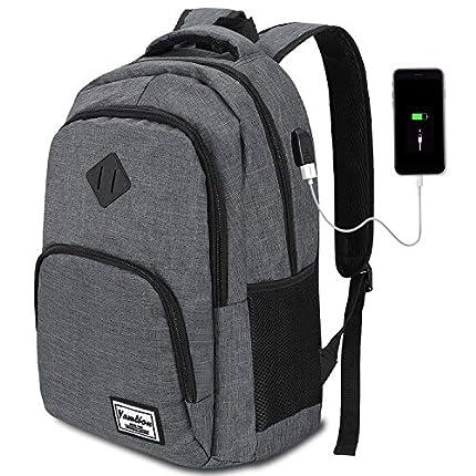 Mochila Hombre para Portátil Mochilas Escolares Juveniles con Puerto USB Resistente al Agua 35L (15,6 Pulgadas, B6-Gris Oscuro)