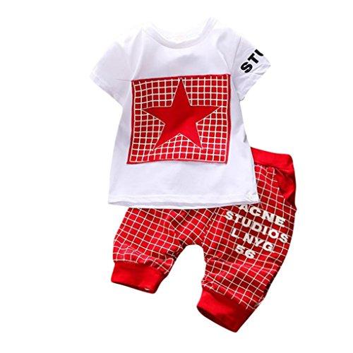 K-youth Conjuntos Bebé Niño, Ropa Recién Nacidos Bebe Niño Camiseta Mangas Cortas Enrejado Estrellas Cartas Estampado Tops y Pantalones Verano Ropa Conjunto (Rojo, 0-6 Meses)