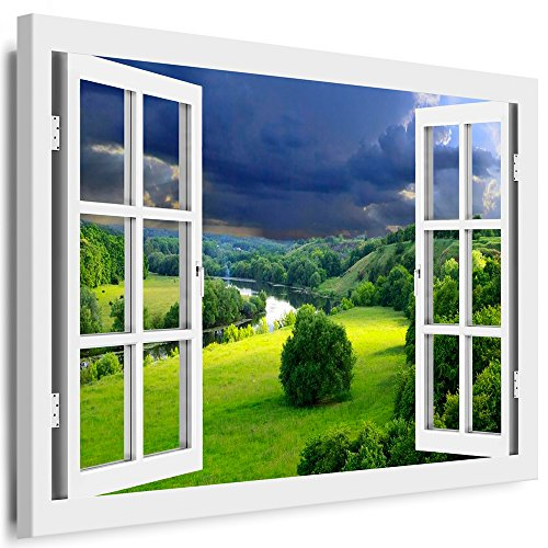BOIKAL XXL63-5 Fensterblick Leinwand bild 3D Illusion - Fertig Gerahmte Bilder kein Poster - Wandbild 100 x 80 cm Weiß - Farbe Große 21 Variante wählbar - Fenster Kunstdruck Landschaft grüne Wiesen, Fluss, Himmel