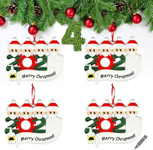 AUGOLA Christmas Ornaments 2020 Survived Family Ornament Quarantined Personalized Christmas Decorations DIY Name Blessing Resin Snowman Christmas Tree Hanging Pendant Home Decor Xmas Gifts