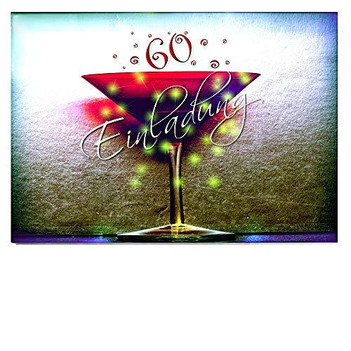 DigitalOase 10 Einladungskarten 60. Geburtstag MIT INNENTEXT 60. Jubiläum Geburtstagskarten MENGE WÄHLBAR Klappkarten Kuverts Format DIN A6#KELCHR (10)