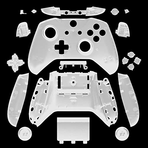 WPS Matte Case Housing Full Shell Set Faceplates + ABXY Buttons + RB LB Bumpers + Right/Left Rails for Xbox One S Slim (3.5 mm Headphone Jack) Controllers (Transparent Clear)