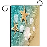 ガーデンサイン庭の装飾屋外バナー垂直旗ヒトデの貝殻オールシーズンダブルレイヤー