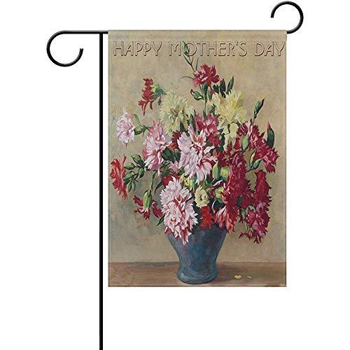 jiaxingdalin Muttertag Garten Flagge Hof Dekoration, Happy Mom Festival Vintage rot rosa gelb Nelke Dekor Home Flags