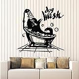 ONETOTOP Dog Wash Wall Stickers Pet Salon de Belleza Baño Ducha Bañera Decoración Interior Vinyl Fen