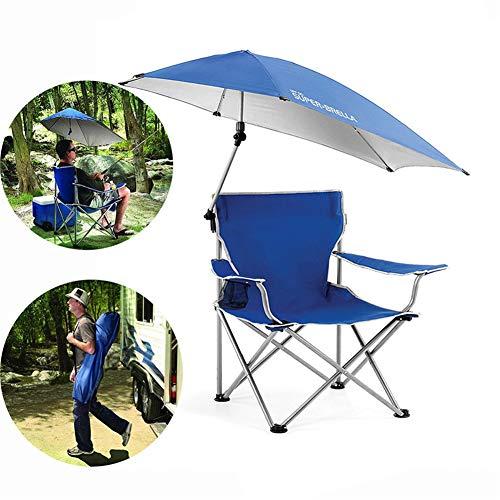 Outdoor Angeln Klappstuhl, mit Sonnenschirm Baldachin und Getränkehalter, Oxford Sitz Stoff, wasserdicht komfortabel langlebig, für Sommerausflug Camping Beach Garden