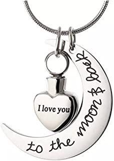 Norya Cremation Jewelry I Love You to the Moon & Back Carved Locket Cremation Urn Necklace for Ashes Keepsake Memorial Urn Pendant