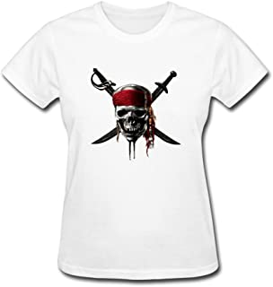 Zelura Women's Jack Sparrow T-shirts White