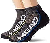 HEAD unisex-adult Performance Sneaker – Trainer (2 pack) Tennis Socks, mid grey/black, 35/38 (2er Pack)