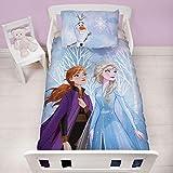 Frozen 2 - Juego de Funda de edredón y Funda de Almohada para niños, diseño de Anna y Elsa, 120 x 150 cm, Color Azul