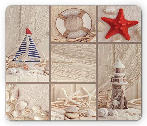 Lunarable Nautical Mouse Pad, Marine Sail Boat Lifebuoy Starfish Lighthouse Sand Shell Sea Life Collage Design, Rectangle Non-Slip Rubber Mousepad, Standard Size, Blue Red