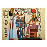 Dedesty 500 Pieces Art Picture Rompecabezas de Madera Papyrus Design with Elements of Ancient Egyptian History Jigsaw Puzzles for Adults Teens Funny Juego Familiar Hanging Home Decoration