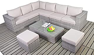 Dallas - Set di divani angolari da giardino, in stile rustico