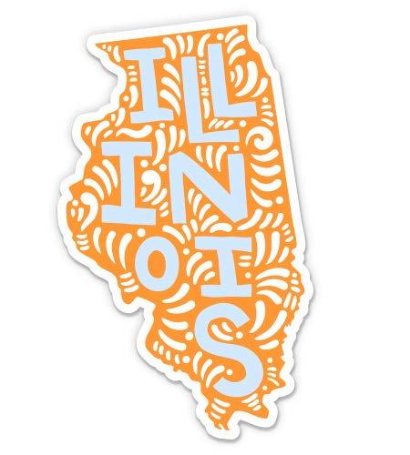 Illinois Shape Cute Letters Native Local - 3' Vinyl Sticker - For Car Laptop I-Pad Phone Helmet Hard Hat - Waterproof Decal