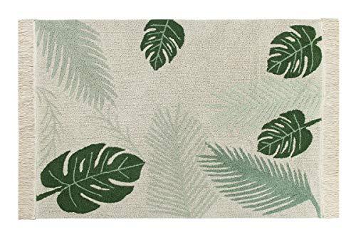 Lorena Canals Alfombra Lavable Tropical, algodón, Verde, 140x 200x 30cm
