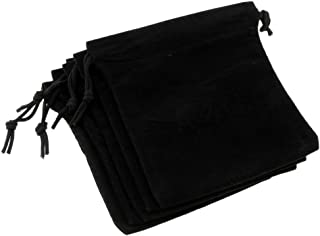 "Perfeclan 5Pcs Black Velvet Drawstring Pouch Jewelry Gift Bag 6""x5"" Christmas Birthday"