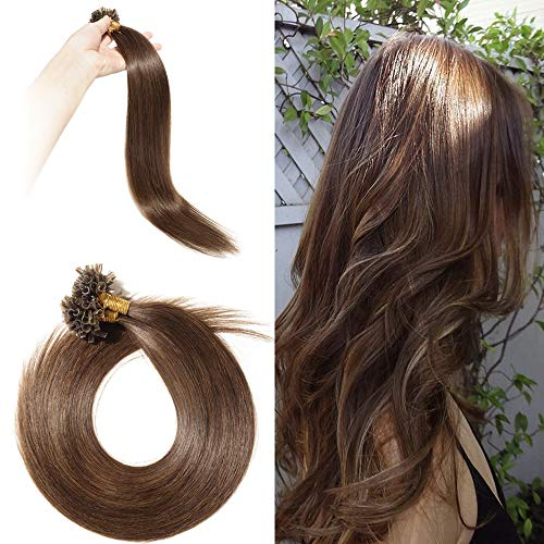 Rajout Extension Cheveux Naturel Keratine Pose a Chaud Vrai Cheveux Humain - 100 Mèches 50g (#04 Châtain, 22\