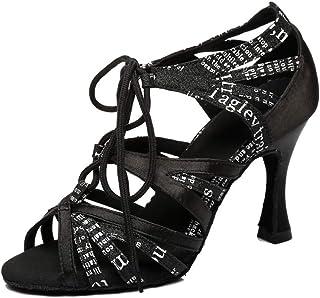 MGM-Joymod Chaussures de danse modernes à lacets pour femme avec talon évasé et lettres imprimées en satin Salsa