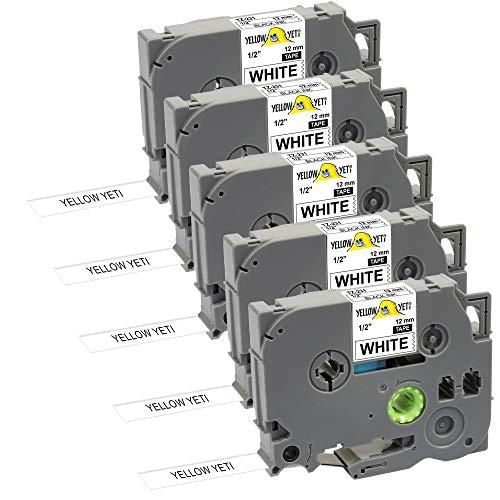 Yellow Yeti 5 Schriftbander Ersatz für TZe-231 TZ-231 schwarz auf weiß 12mm x 8m Etikettenbänd kompatibel für P-Touch PT-1000 PT-H100 PT-D210VP PT-D400 PT-D600VP PT-P700 PT-P750W CUBE