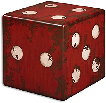 Uttermost Dice Accent Table, Red, 18.75