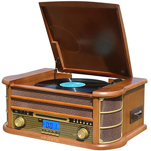 Majestic TT 34R BT CD TP USB - Giradischi 33/45/78 Giri, Bluetooth, Lettore CD/MP3, Ingresso USB, Cassetta, Registra vinili in MP3, Telecomando, Marrone