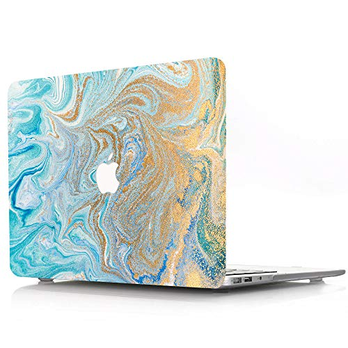 MacBook Air 13 inch Case 2018 2019 2020 Release A1932 A2179, Blue Marble Wave Pattern Plastic Hard Shell Case Compatible with New MacBook Air 13' with Retina Display and Touch ID - Blue & Gold