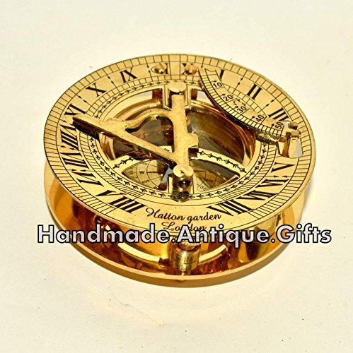 Premium Hochwertiges Nautisches Antik Messing Sonnenuhr Kompass w/Wasserwaage Sonne Uhr