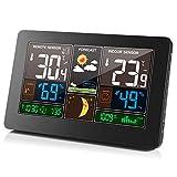 YSQ Reloj de Clima Multifuncional con Pantalla de Color, Reloj de Alarma electrónico montado en la Pared para Temperatura Interior y Exterior, Temperatura y Humedad Estaciones meteorológicas