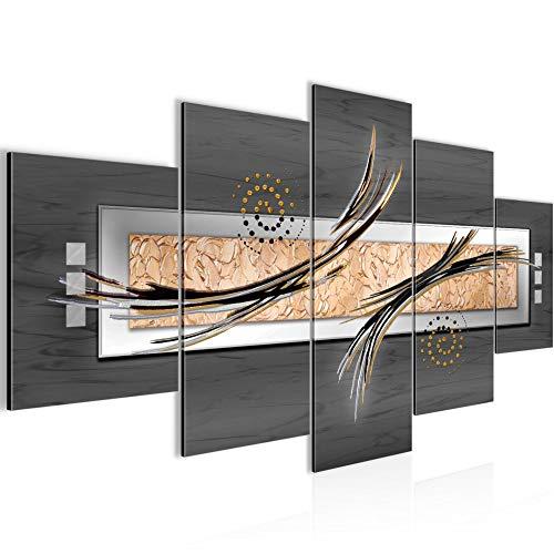 Runa Art - Quadri Astratto 200 x 100 cm 5 Pezzi XXL Decorazione Murale Design Grigio Beige Marrone 103951b