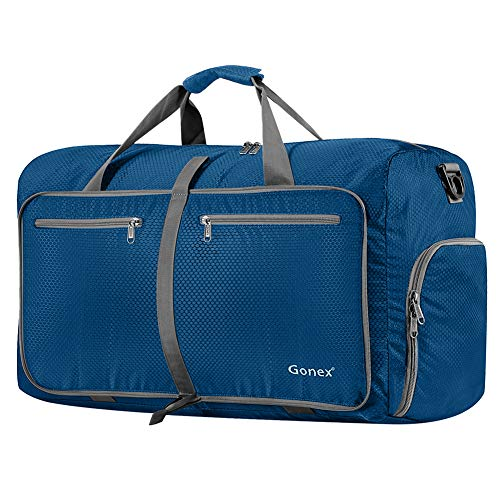 Gonex 80L Packable Travel Duffle Bag Foldable Duffel Bags for Luggage Gym Sports Camping Travelling Cycling Storage Shopping Water & Tear Resistant Deep Blue