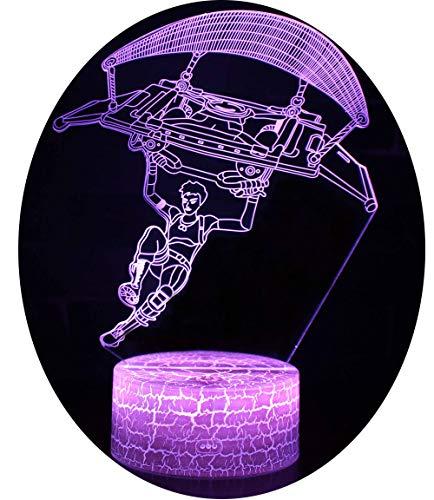 Win-Y 3D Optische Illusions-Lampen, LED-Schreibtisch Tischlampe 7 Farb-Touch-Lampen-Ausgang Schlafzimmer-Büro-Dekor für Kindergeburtstag (Parachuting 2)