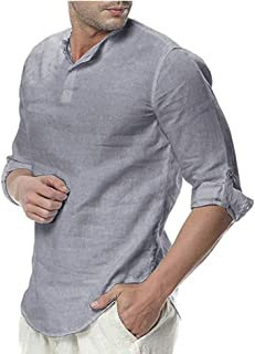 Sponsored Ad - THWEI Mens Linen Henley Shirt Loose Fit Roll Up Long Sleeve Casual Solid T-Shirt
