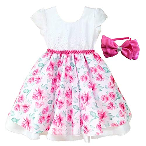 Vestido de Festa Infantil Luxo Floral Com Tiara G 9-10